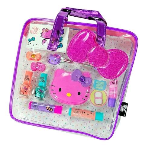 Hello Kitty Girls Beauty Cosmetics Tote Bag Gift Set Lip Gloss Compact Mirror