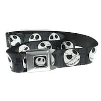 Nightmare Before Christmas Jack Expressions-Grey Seatbelt Belt-Holds Pants Up