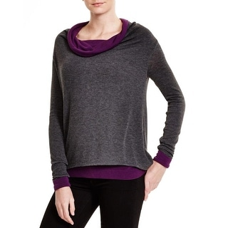 Three Dots Womens Pullover Top Cowl Neck Layered