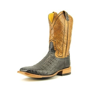 "Rod Patrick Caiman Belly 14"" Men B Round Toe Leather Black Western Boot"