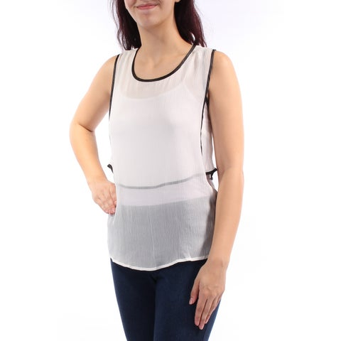 KIIND OF Womens Ivory Sheer Sleeveless Jewel Neck Top Size: M