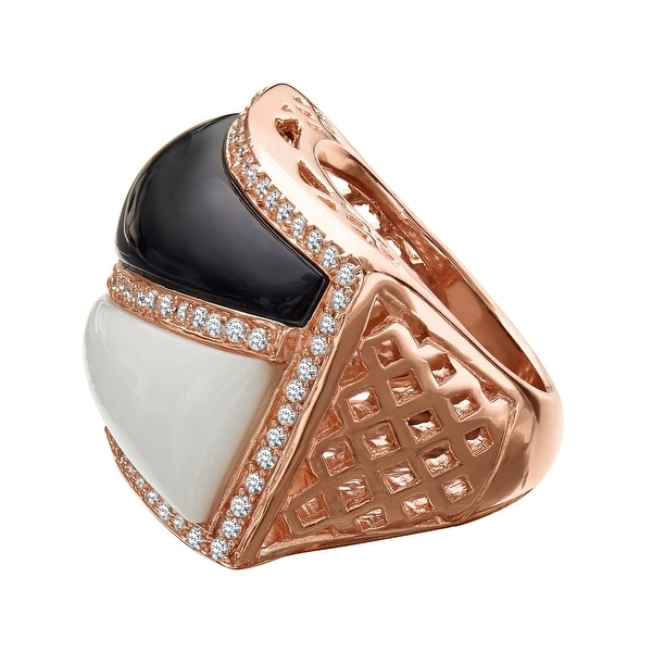 Cristina Sabatini Gaeta Ring with Cubic Zirconia in 18K Rose Gold-Plated Sterling Silver - White