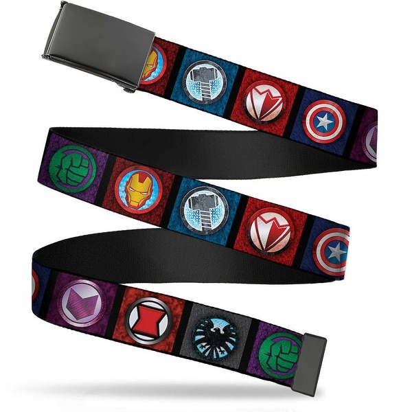 Marvel Avengers Blank Black Buckle Avengers 8 Icon Blocks Black Multi Web Belt
