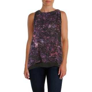 Aqua Womens Double Layer Printed Casual Top