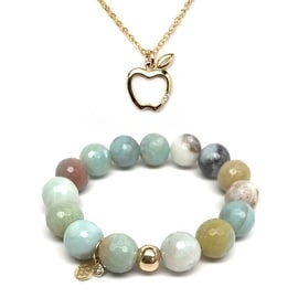 "Green Amazonite 7"" Bracelet & CZ Apple Gold Charm Necklace Set"