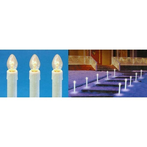 Set of 10 Pre-Lit C7 Candle Christmas Pathway Markers - Clear Lights