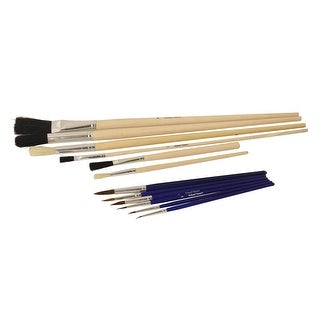 School Smart Economy Natural and Synthetic Paint Brush Assortment, Pack of 12