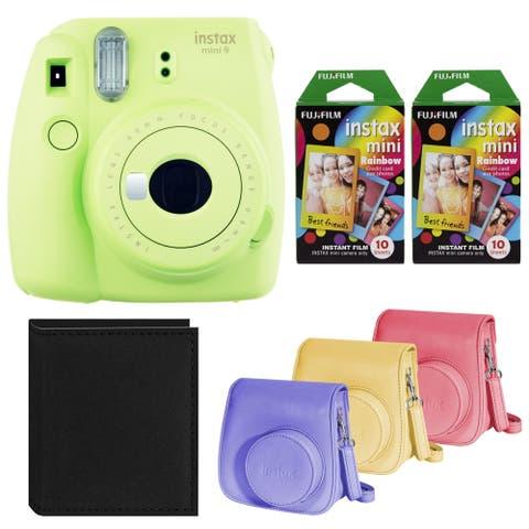 Fujifilm Instax Mini 9 Instant Camera (Lime Green) with Two Rainbow Film Bundle