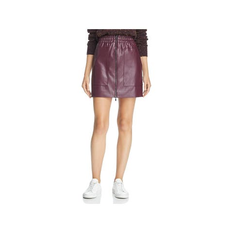 French Connection Womens Mini Skirt Faux-Leather Zip Front