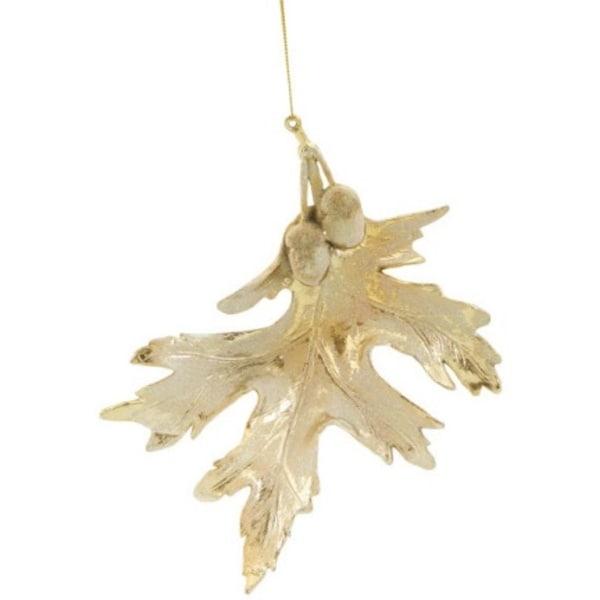 "8.25"" Glittered Gold Majestic Oak Leaf Christmas Ornament"