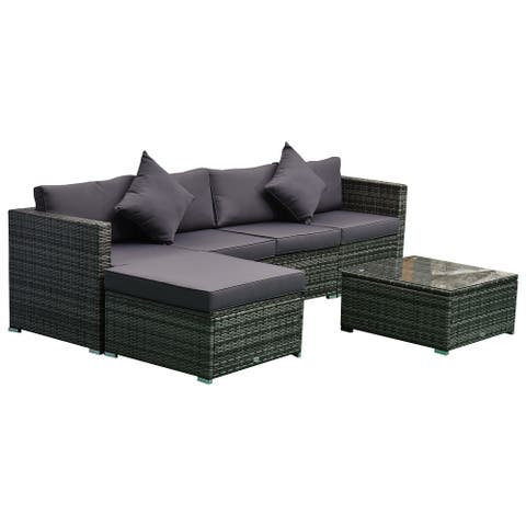 Outsunny 6-Piece Outdoor Patio Rattan Wicker Furniture Set with Comfortable Cotton Cushions, Removable Slip Covers, Grey