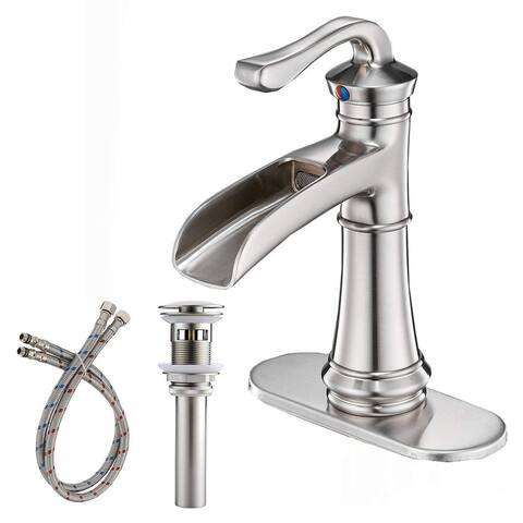 Vibrantbath Commercial Single Handle Waterfall Bathroom Sink Faucet