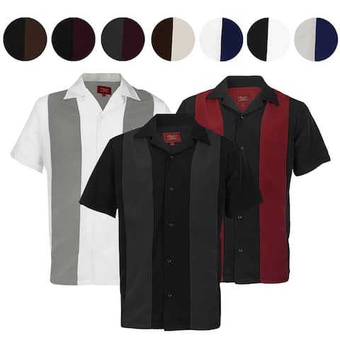 Maximos Men's Retro Classic Two Tone Bowling Shirt Charlie Sheen