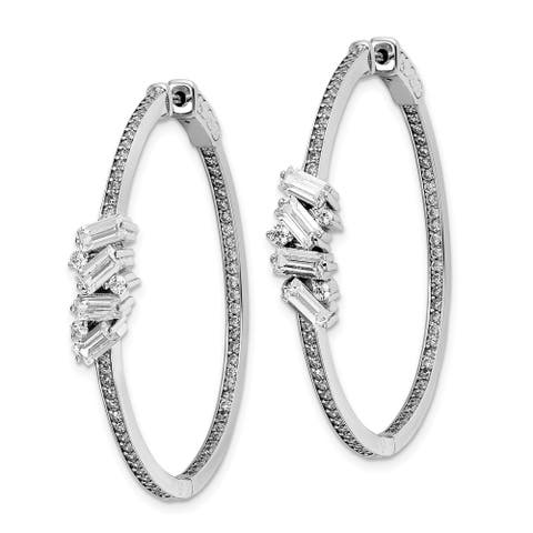 Sterling Silver Cubic Zirconia Hinged In and Out Hoop Earrings by Versil