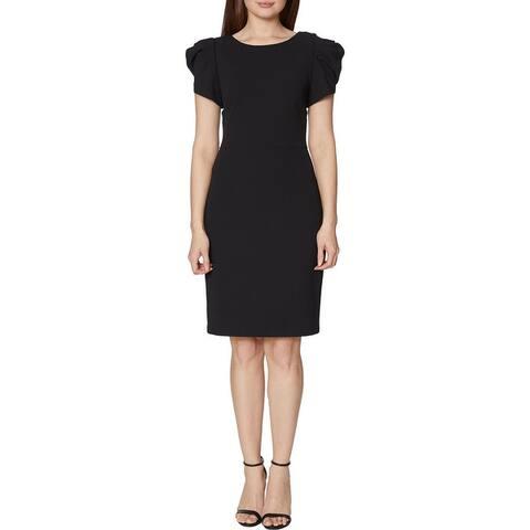 Betsey Johnson Women's Puff Sleeve Fitted V-Back Midi Dress - Black