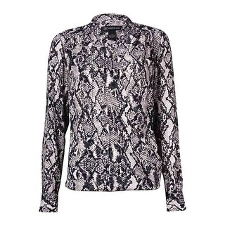 INC International Concepts Women's Surplice Shirttail Top - diamondback snake