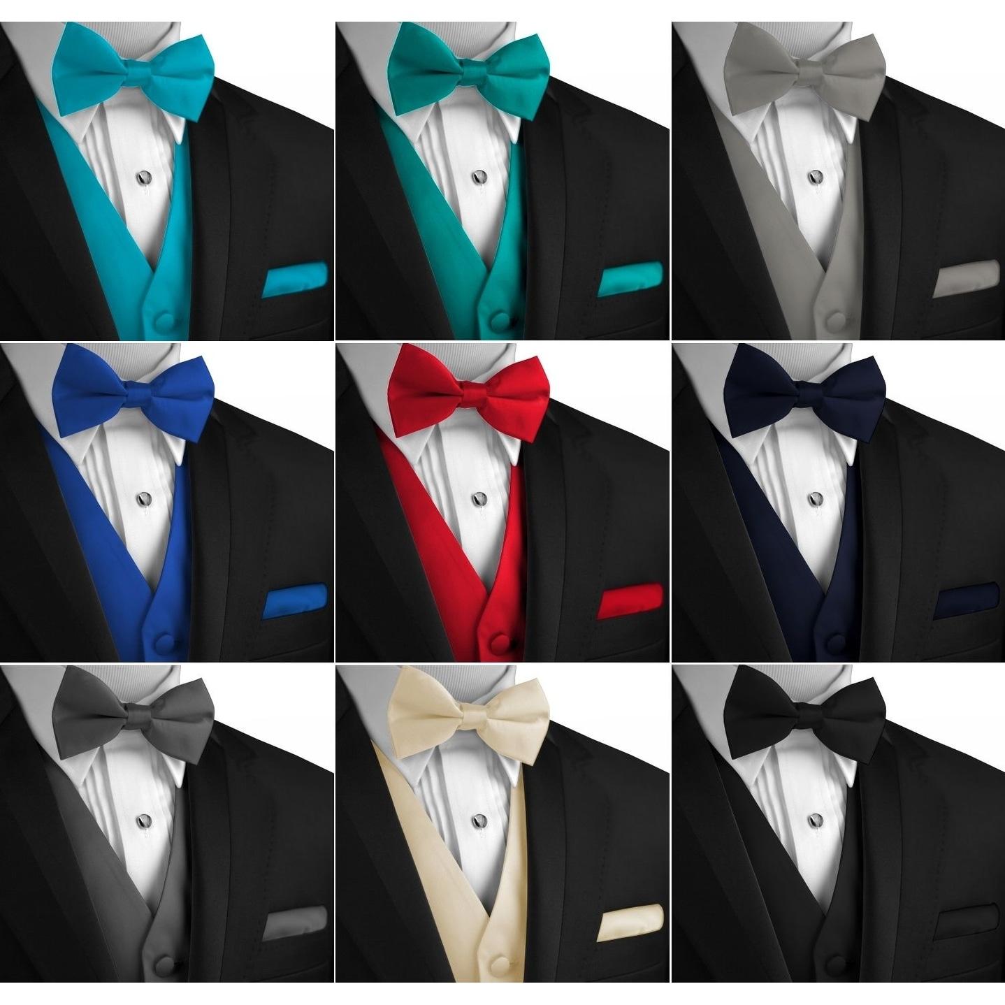 Dress Prom Bow-Tie set Men/'s Solid Satin Tuxedo Vest Cruise Wedding Formal