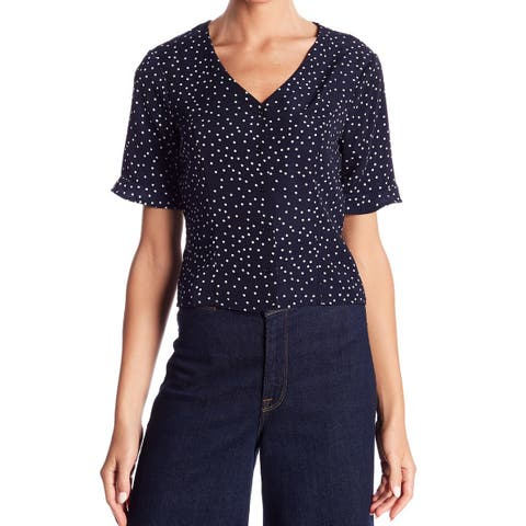 Elodie Blue White Womens Size Medium M Polka-Dot Lace-Up Knit Top