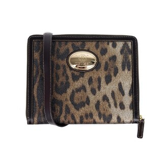 Roberto Cavalli Black Print Ipad Case Leopard Leather Shoulder Bag