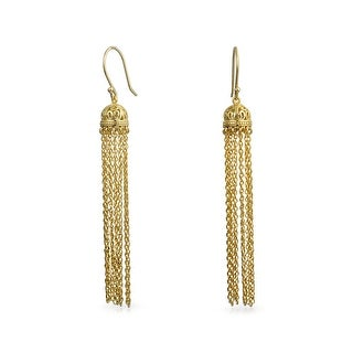 Bling Jewelry Gold Plated Silver Filigree Dome Dangle Long Chain Earrings
