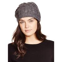 Aqua Ladies Dark Grey Slouchy Cable Knit Beanie Made In Italy