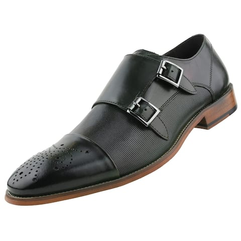 Asher Green Mens Dress Shoes, Genuine Calf Leather Cap Toe, Double Monk Strap,Style