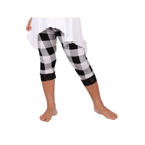 Lori & Jane Girls Black White Plaid Lace Trim Stretchy Leggings