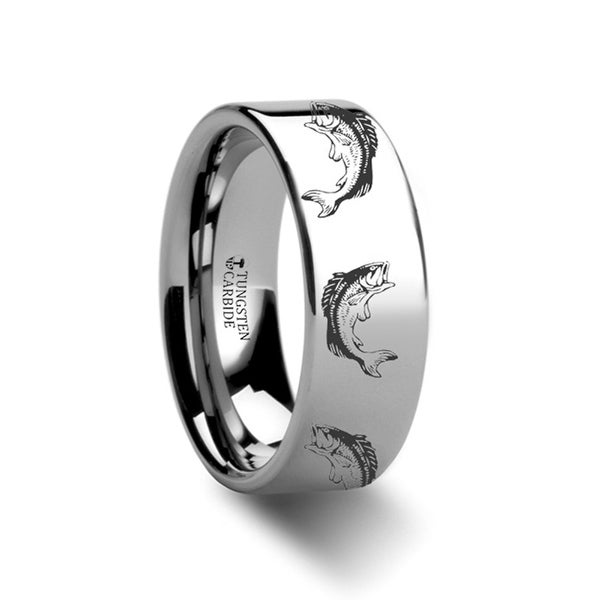 THORSTEN - Bass Fish Jumping Sea Print Pattern Ring Engraved Flat Tungsten Ring - 12mm