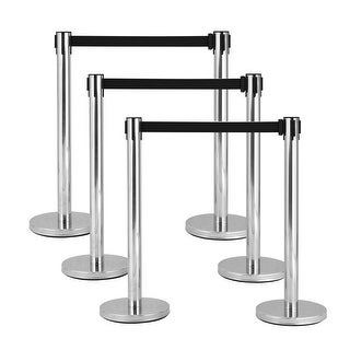 Costway 6Pcs Stanchion Posts Queue Pole Retractable Black Belt Crowd Control Barrier - as pic