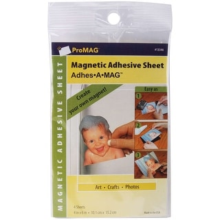 "ProMag Adhesive Magnetic Sheets-4""X6"" 4/Pkg"