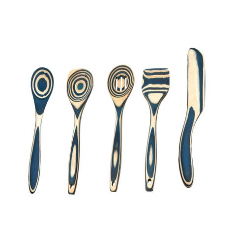Island Bamboo Pakkawood 6-Piece Blue Utensil Set Bundle