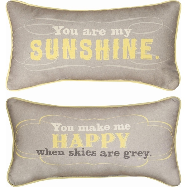 "17"" Reversible Yellow and Gray ""You Are My Sunshine"" Decorative Throw Pillow"