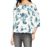 William Rast Blue Women's Size Medium M Off Shoulder Floral Blouse
