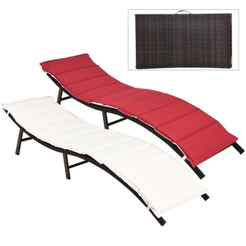 Costway 2PCS Patio Rattan Folding Lounge Chair Stackable Double Sided