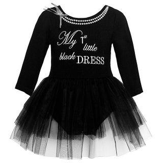 Bonnie Jean Baby Girls Black Letter Print Overlaid Christmas Dress