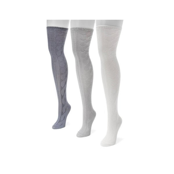 Muk Luks Socks Womens Cable Over Knee 3 pack O/S Multi-Color 00 - One size