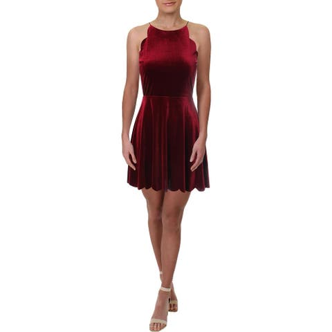 Necessary Objects Womens Party Dress Velvet Scalloped - Red - S