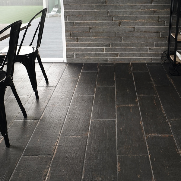 SomerTile 8.25x23.5-inch Lambris Nero Porcelain Floor and Wall Tile. Opens flyout.