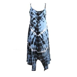 Raviya Blue Black Tie-Dyed Handkerchief Hem Cover-Up S