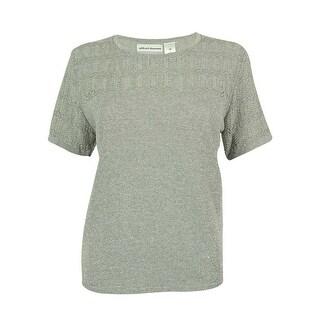 Alfred Dunner Women's Short Sleeve Metallic Sweater Top - pm