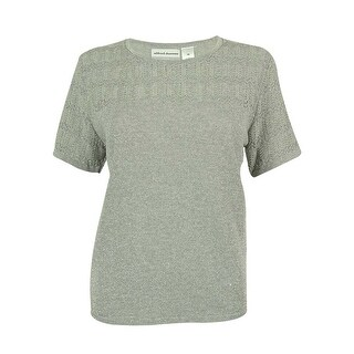 Alfred Dunner Women's Short Sleeve Metallic Sweater Top - Silver - pm