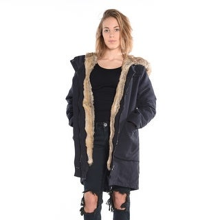 Parka With Flexible Lining And Faux Fur In Navy