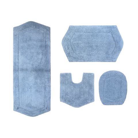 "Waterford Collection Genuine Absorbent Cotton 4 Piece Set Bath Rug with Lid Cover 18""x18"", 17""x24"", 21""x34"", 22""x60"""