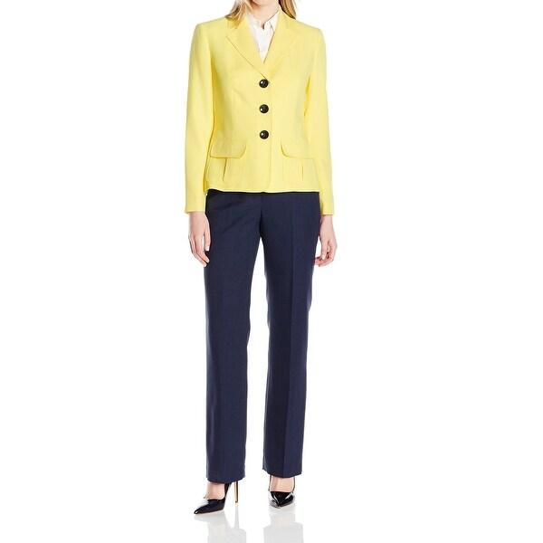 Le Suit NEW Yellow Navy Blue Contrast Women's Size 4 Pant Suit Set