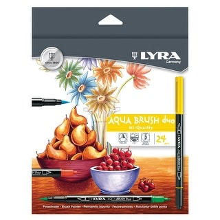 Lyra Non-Toxic Water Based Aqua Brush Duo Marker, Broad and Fine Tip, Assorted Colors, Pack of 24