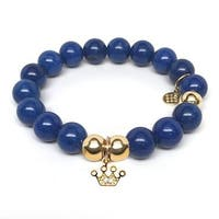 Julieta Jewelry Crown Charm Blue Jade Bracelet