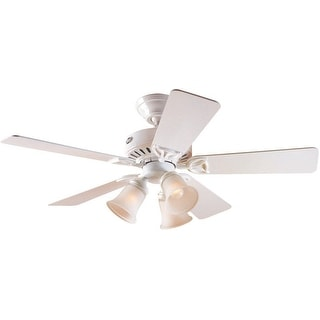 Hunter 53081 Beacon Hill Three-Light Five-Blade Ceiling Fan, White, 42""