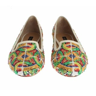 Dolce & Gabbana Majolica Silk Leather Sequin Loafers Shoes - 36