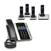 Polycom 2200-48500-001 VVX 501 12-line Business Media Phone with power supply & 4 VVX D60 Handset