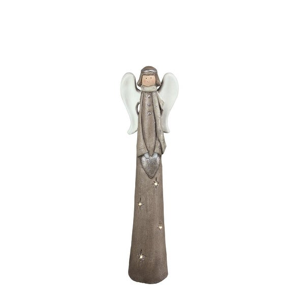 "24"" LED Lighted Eco-Friendly Angel with Heart Christmas Tabletop Figure - brown"